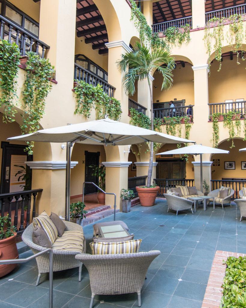 Patio area in Hotel El Convento San Juan, Puerto Rico