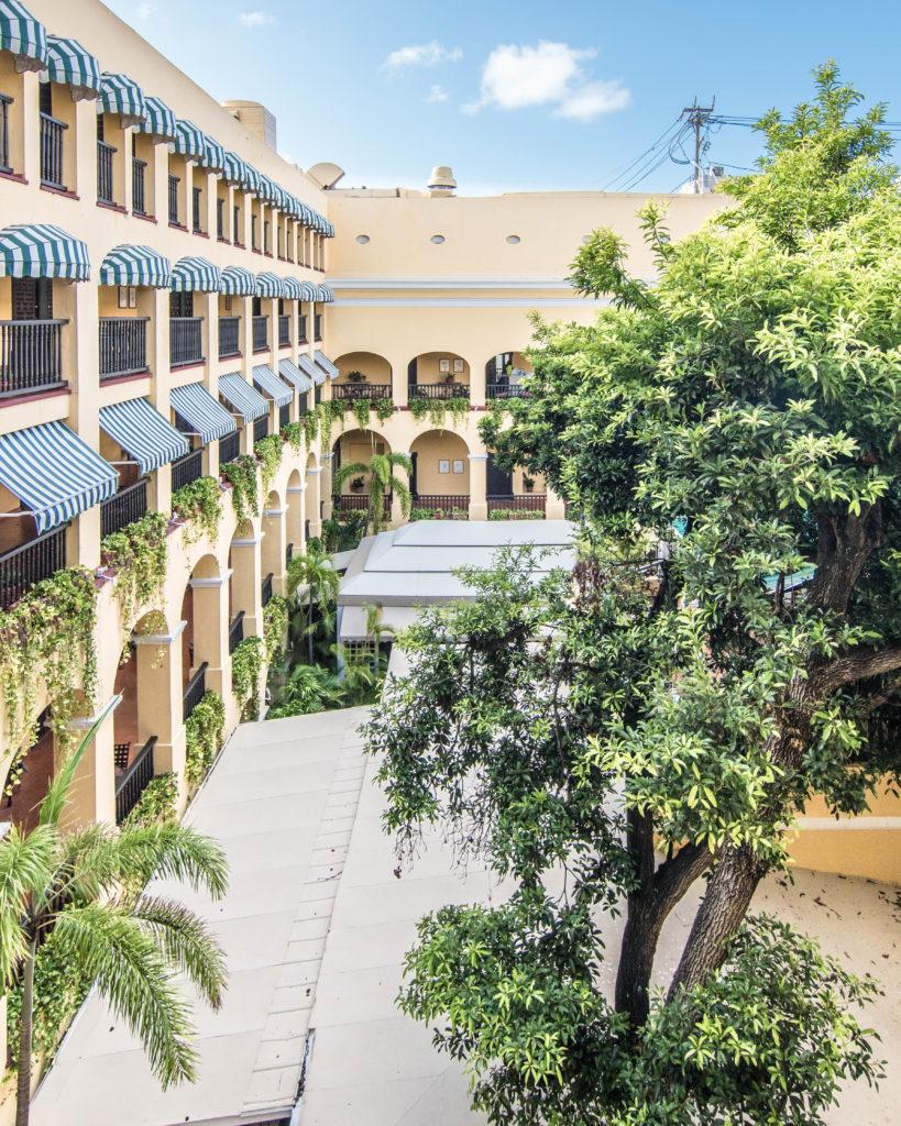 Overlooking the open-air cloister area of Hotel El Convento San Juan, Puerto Rico