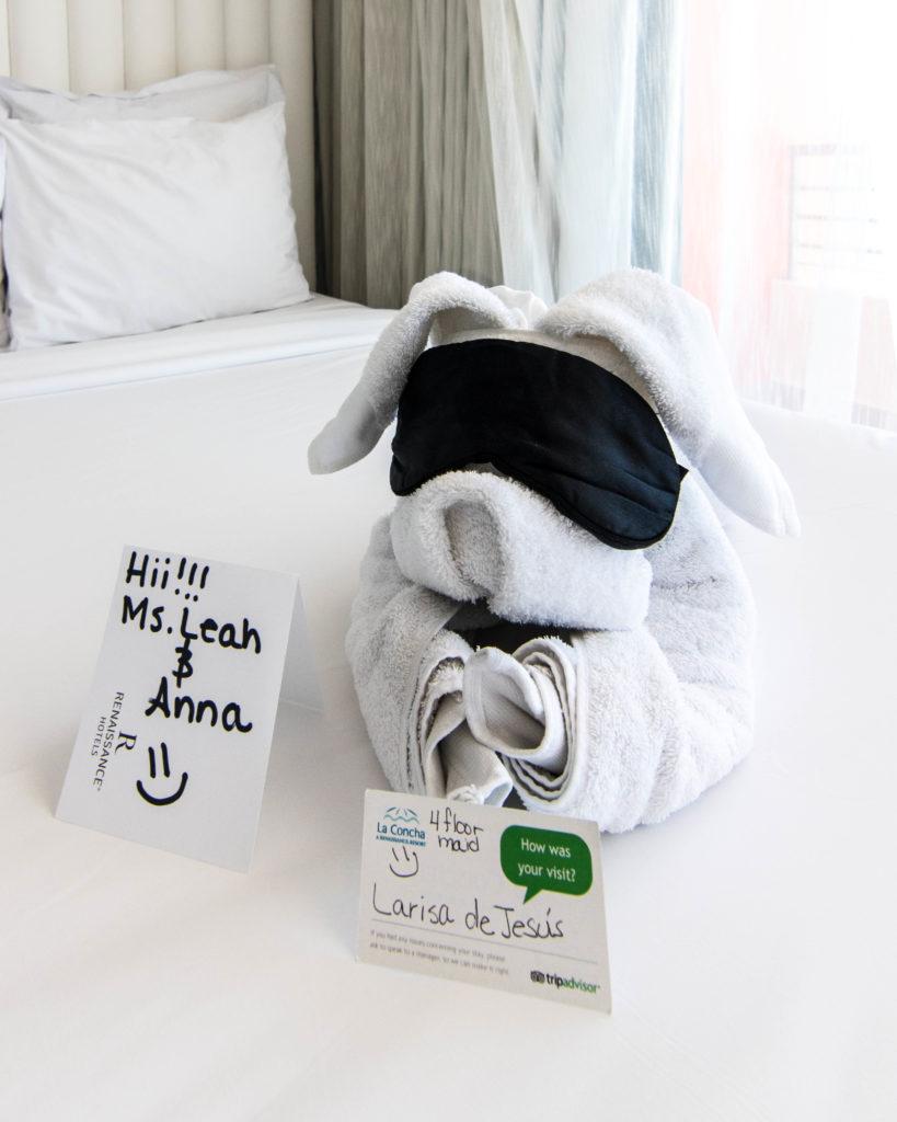 Towel animal at greeting card for guests at La Concha Resort San Juan, Puerto Rico