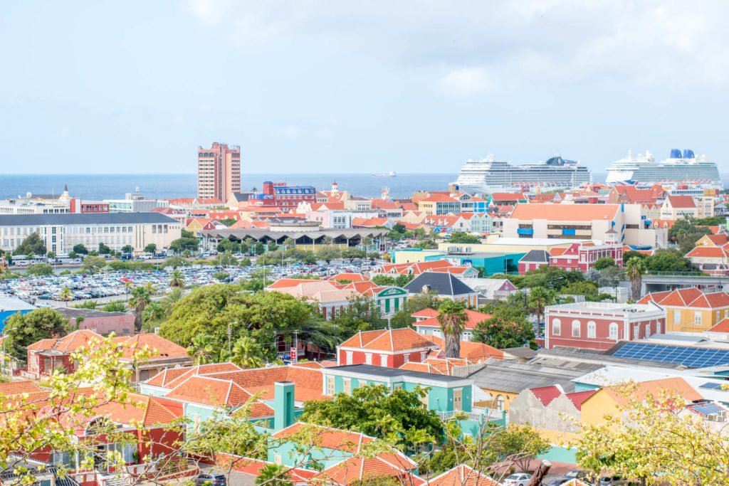 View of Willemstad, Curaçao and cruise ships