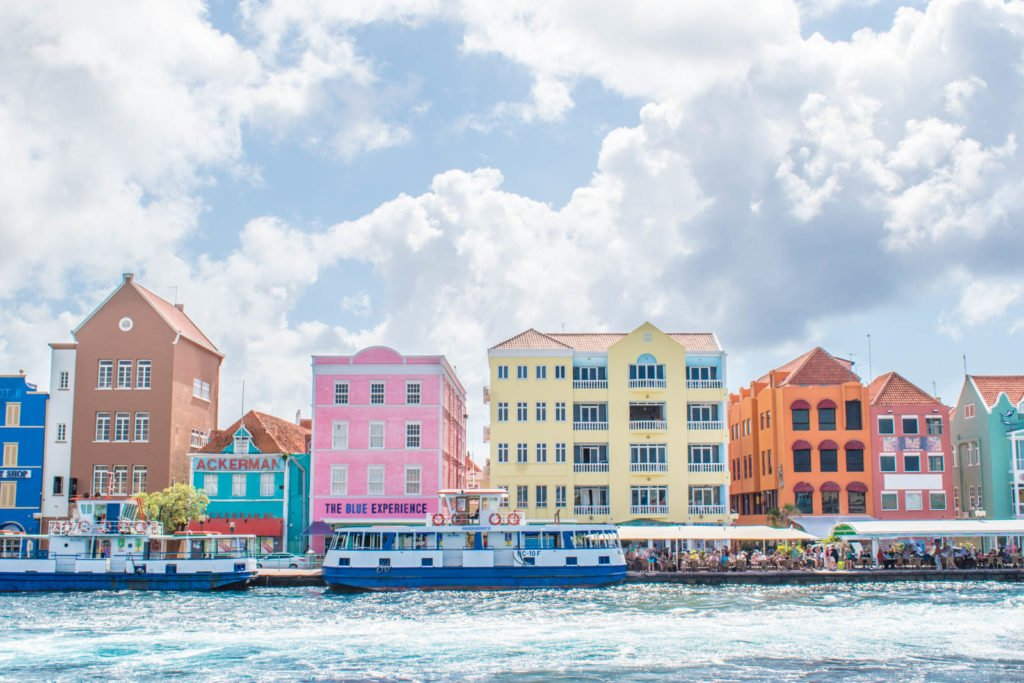 Colorful homes and the harbor in Willemstad, Curaçao