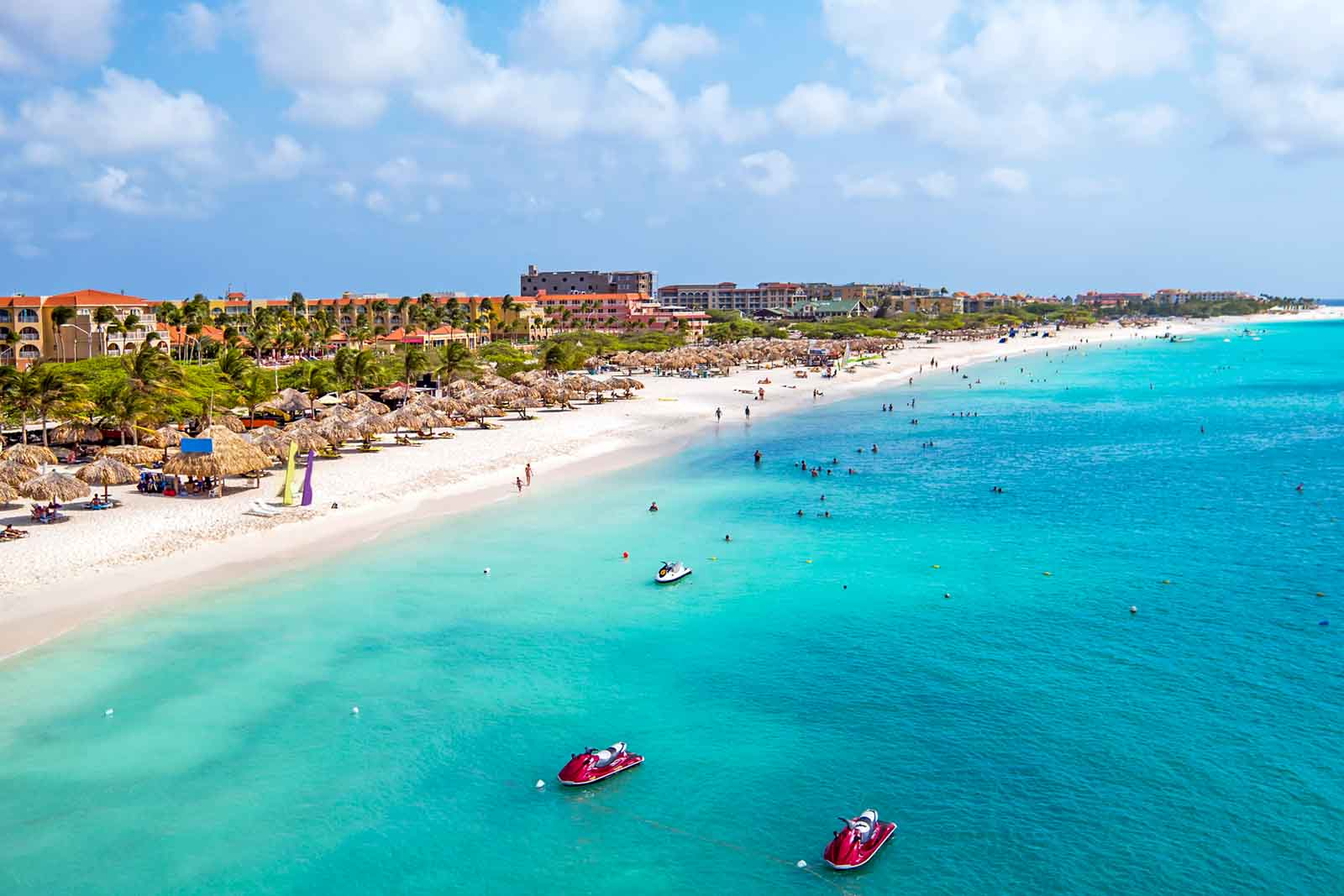 View of white sand Eagle Beach in Aruba