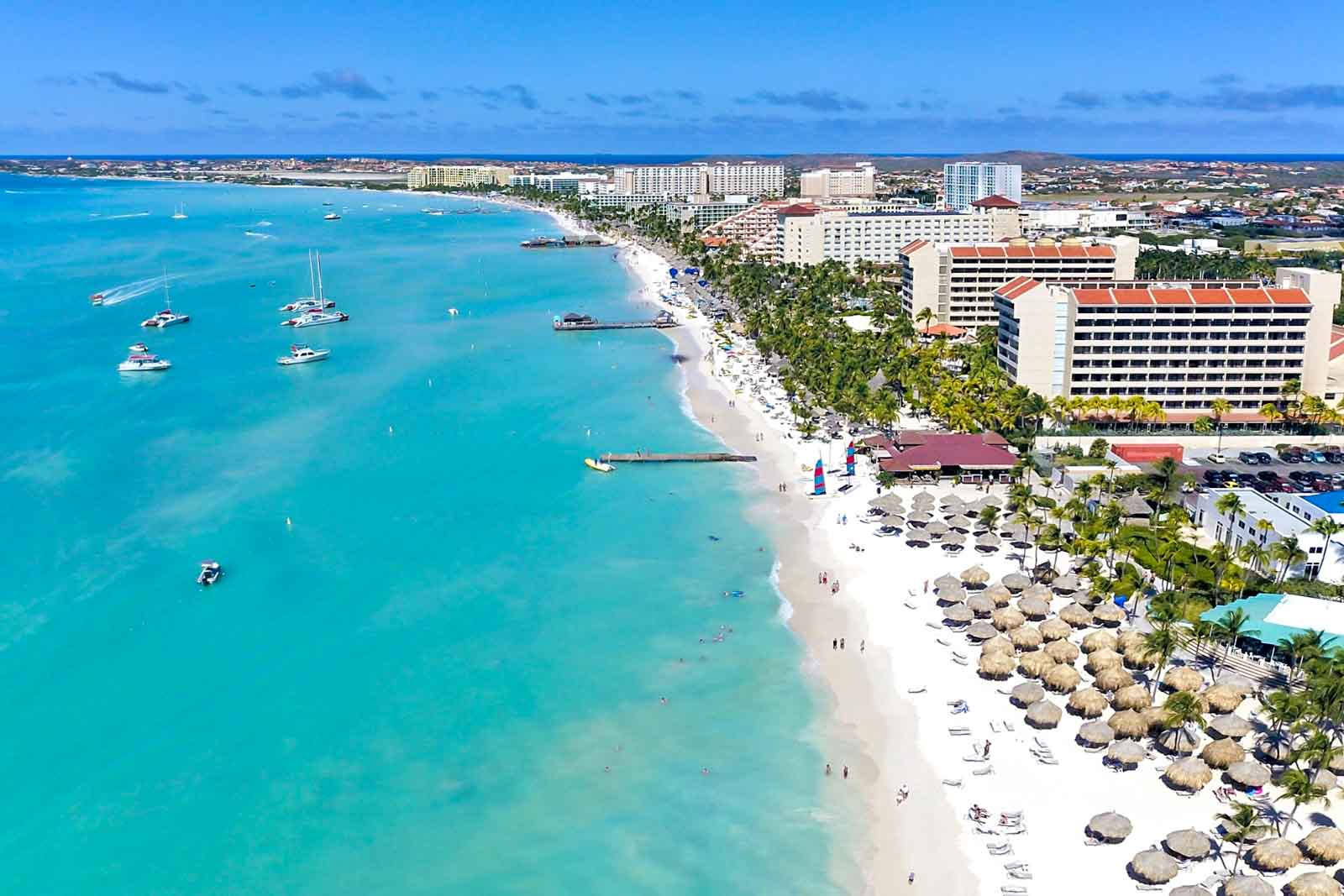 Aerial view of Palm Beach in Aruba, showing high-rise hotels