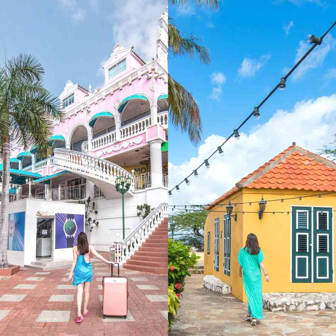 Woman walking in front of colorful historic buildings in both Oranjestad and Willemstad