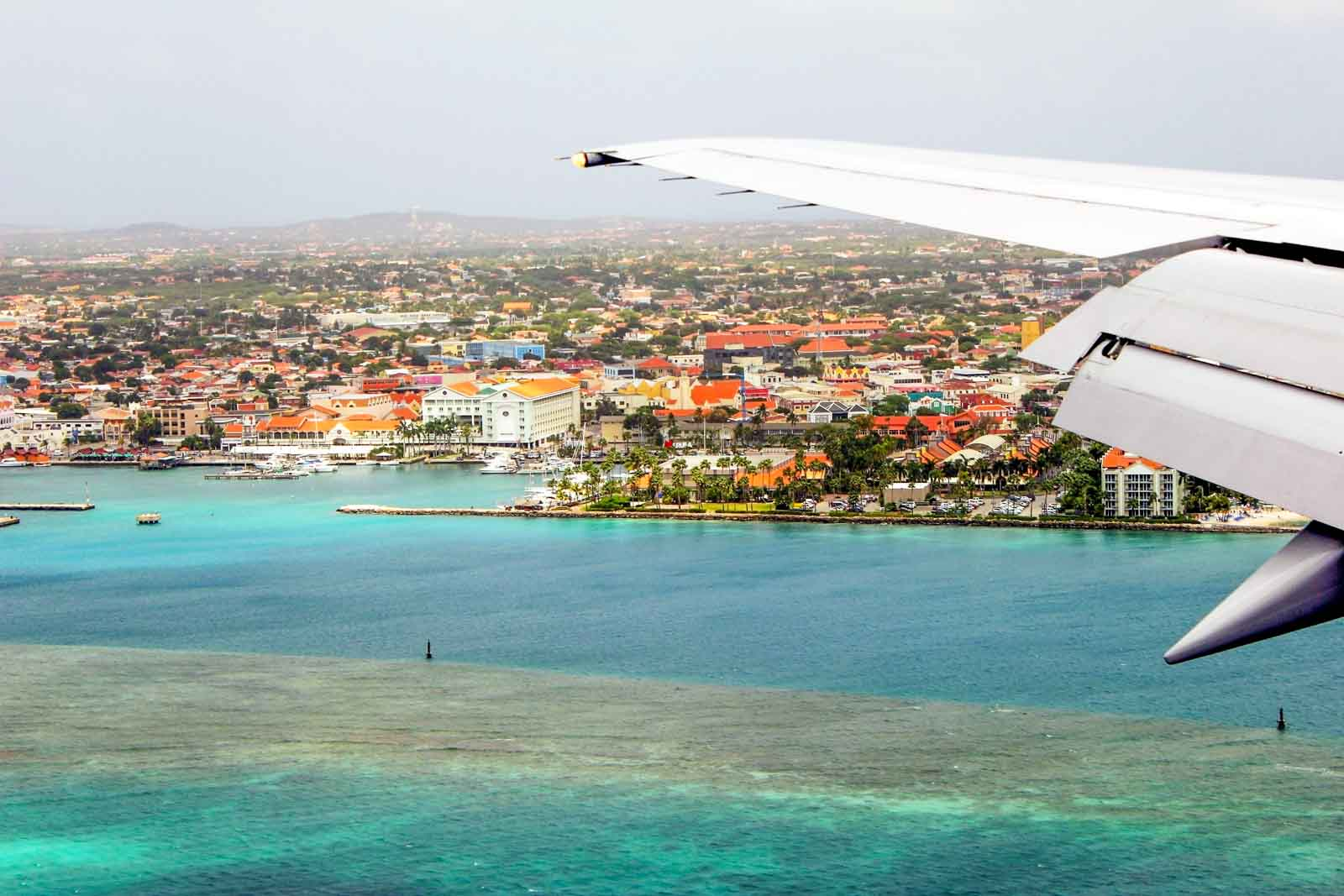 View from the plane window flying into Aruba