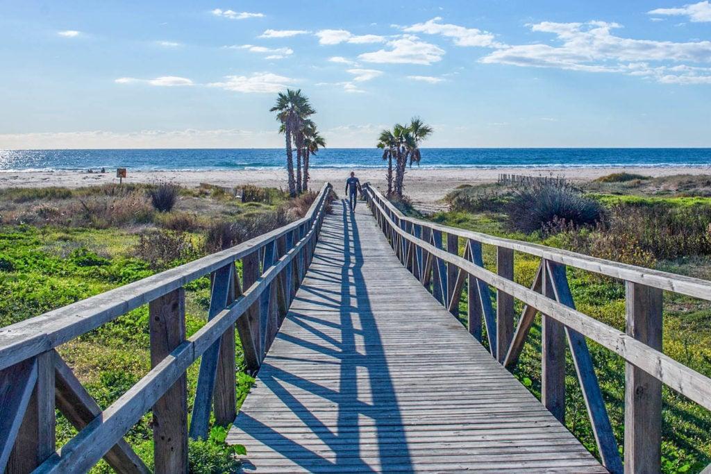 A bridge heading directly to the beach in Tarifa.