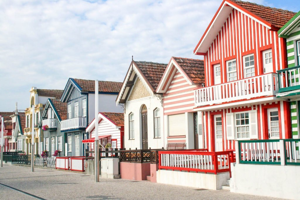 The striped houses of Costa Nova in Aveiro.