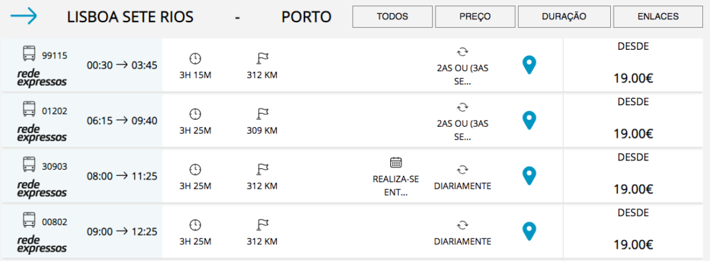 Bus times from the Sete Rios bus station in Lisbon to the Porto bus station.