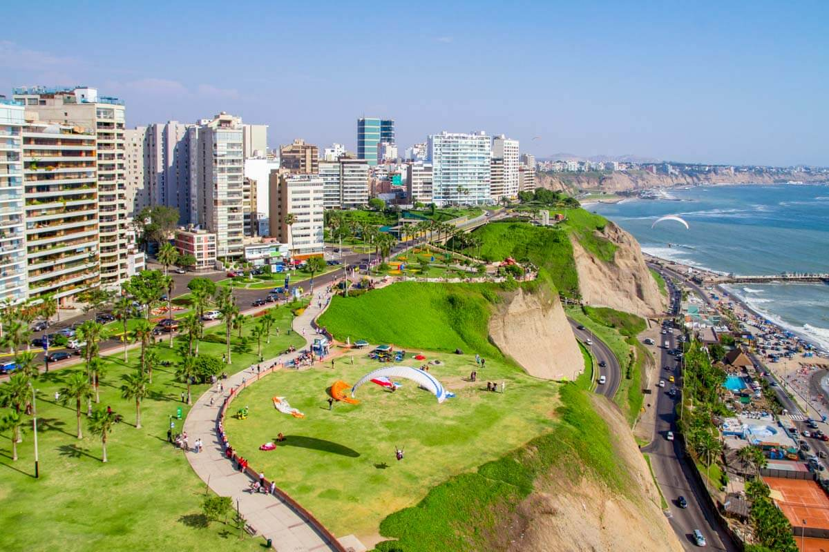 View of Lima skyline along the coast