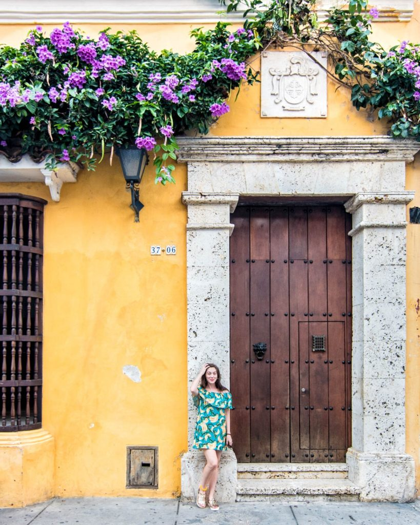 Yellow colonial home in Cartagena, Colombia