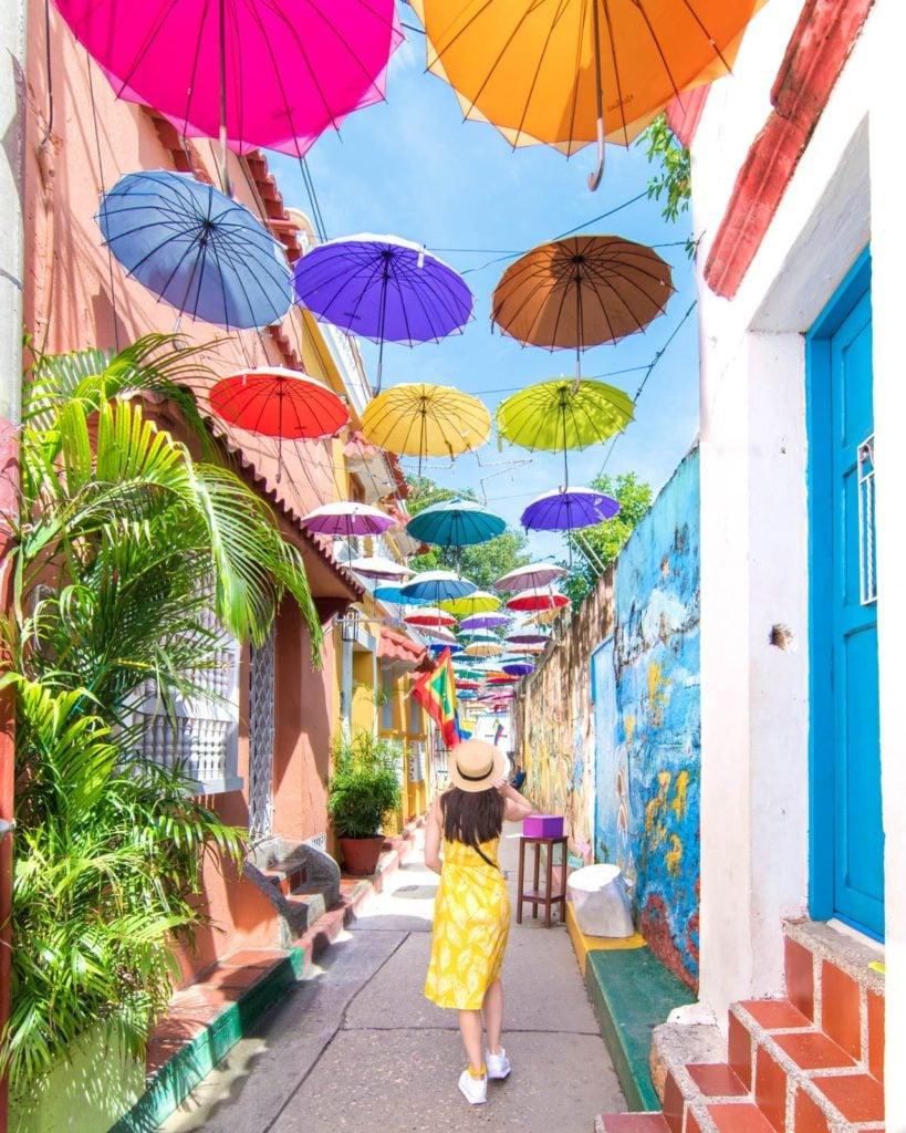 Colorful umbrella street in Cartagena, Colombia on Callejón Angosto