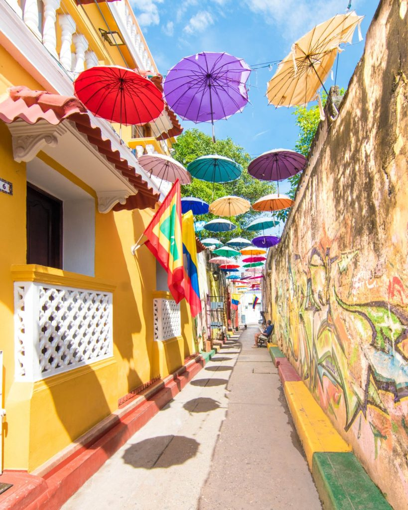 Umbrella street on Callejón Angosto in Cartagena, Colombia