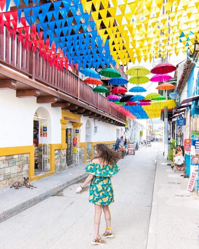 Umbrella street in Cartagena, Colombia