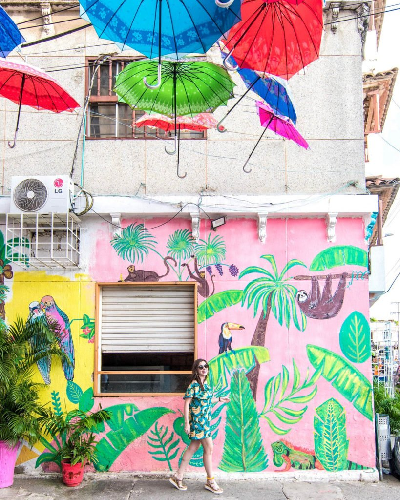 Umbrella street and mural in Cartagena, Colombia
