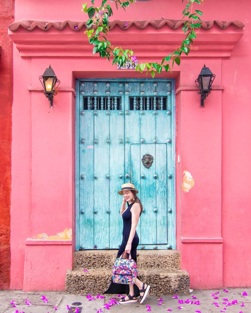 Famous pink house in Cartagena, Colombia