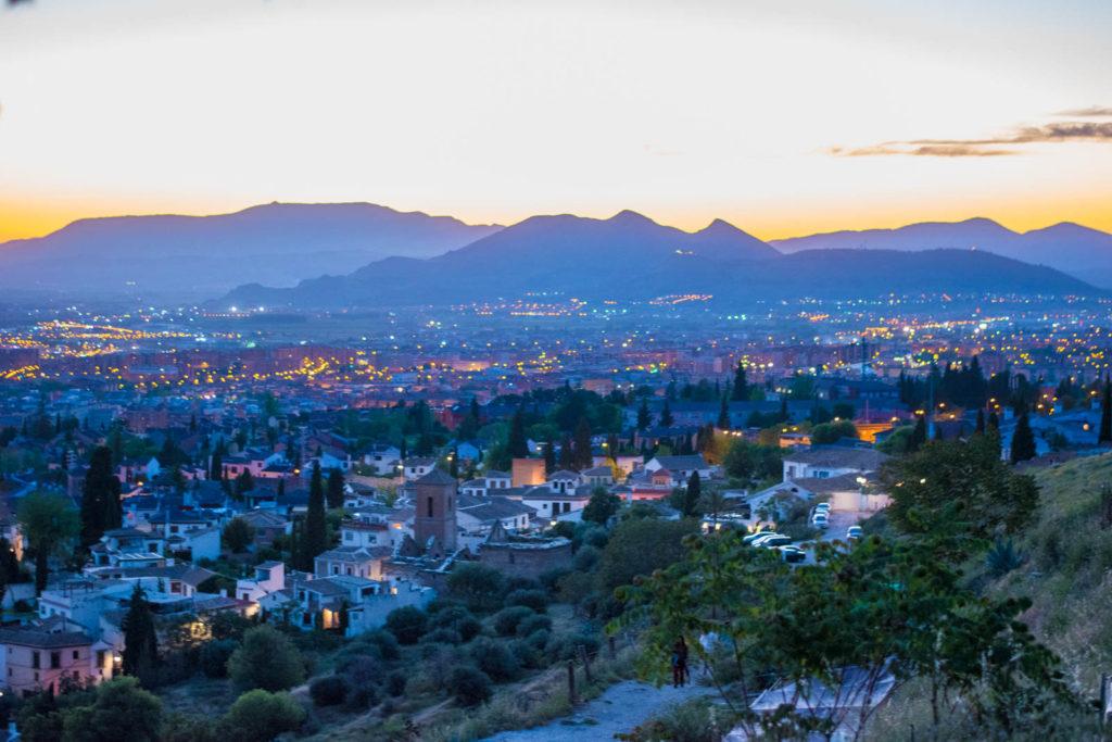 View of sunset in Granada from Mirador de San Miguel Alto