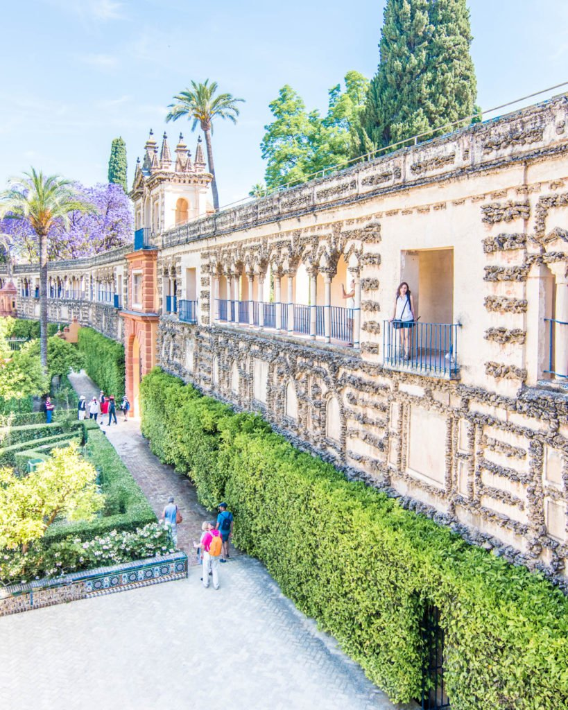 View of one of the main walls of the Real Alcázar of Seville