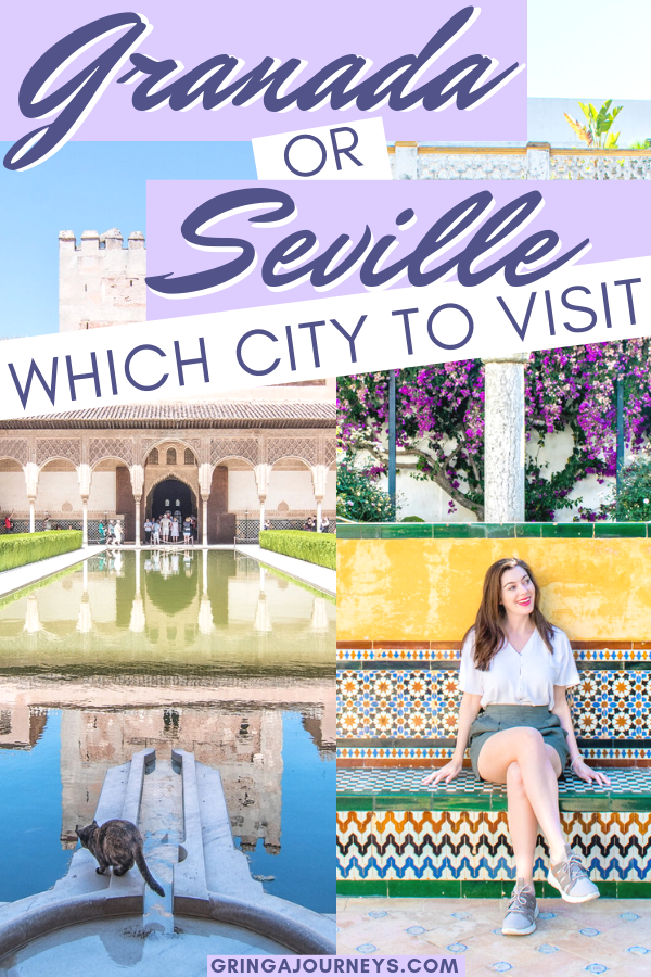 Having a hard time choosing between Granada or Seville? This post explains the reasons to visit each, hopefully aiding you in deciding which to visit. #granada #seville #visitgranada #visitseville #spain #spaintravel #visitspain #andalusia