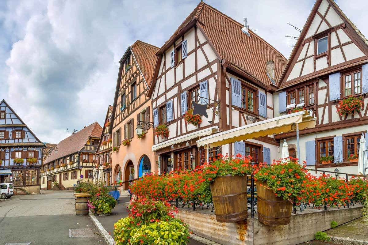 Half-timbered houses in Dambach-la-Ville, Alsace region, France