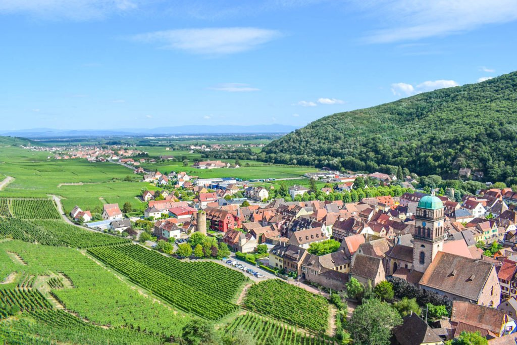 A view of Kaysersberg, with green vineyards in distance.