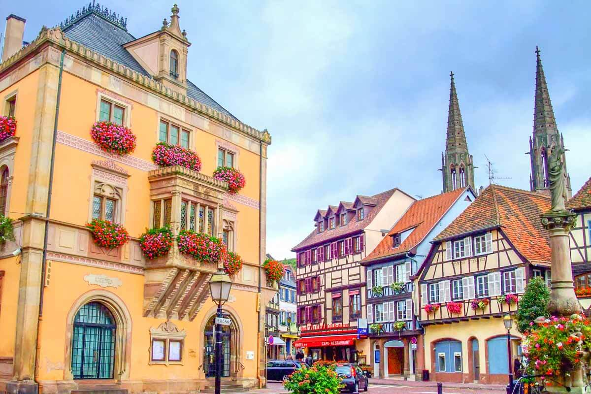 Historic town hall and square in Obernai, France
