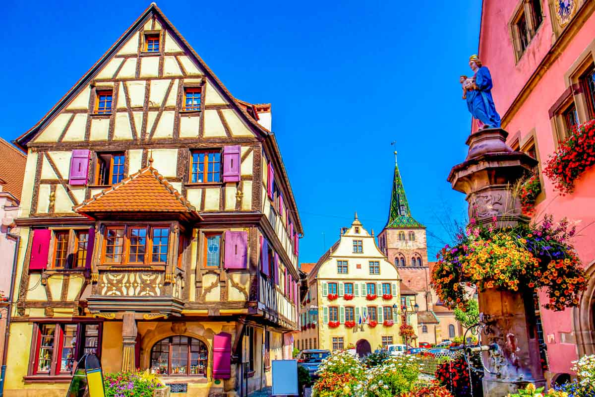 Colorful half-timbered homes in Turckheim, Alsace, France