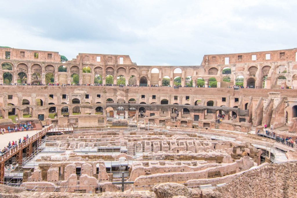 A view of the floor of the Colosseum in Rome