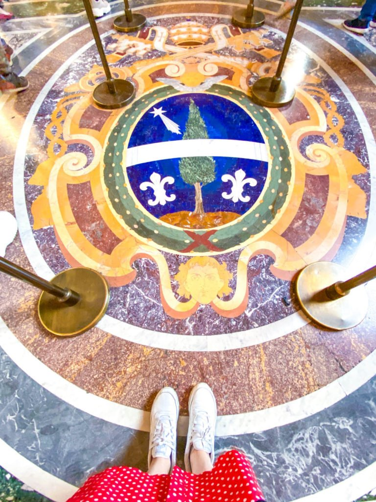 Marble floor details inside the Vatican, with a pop of blue from lapis lazuli