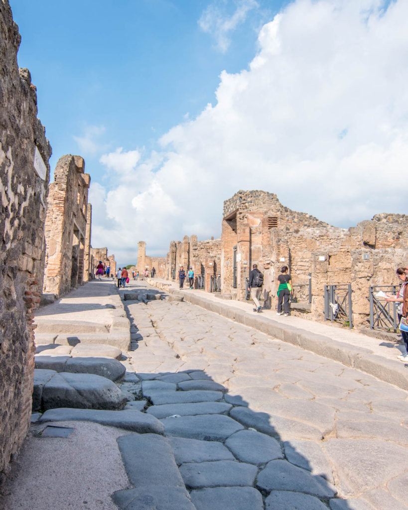 View of one of the cobblestone streets of Pompeii