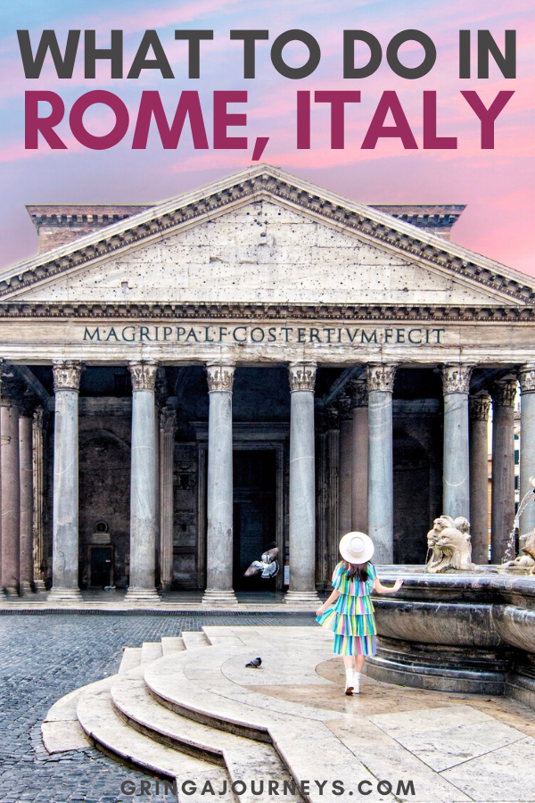 In this Rome itinerary, we'll go over the Colosseum, the Vatican, and even some of the more off-the-beaten-path options that you won't want to miss. #italytrip #italyvacation #Rome #ItalyTravel #ItalyArchitecture #ItalyTravelInspiration #ItalyTrip #ItalyArt | where to go in Rome | what to do in Rome | cute places in Rome | epic locations in Rome | must see in Rome | bucket list travel guide for Rome | places to stay in Rome | instagram spots in Rome | historical sites in Rome
