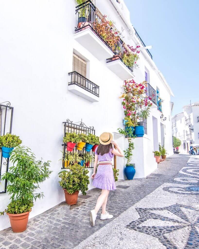 Woman walking around Frigiliana