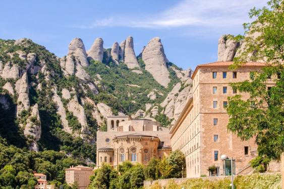 Beautiful view of the monastery and mountains in Montserrat
