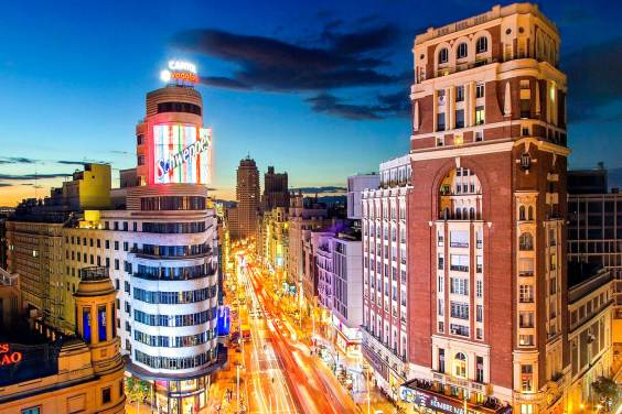 View of the Schweppes tower in Madrid