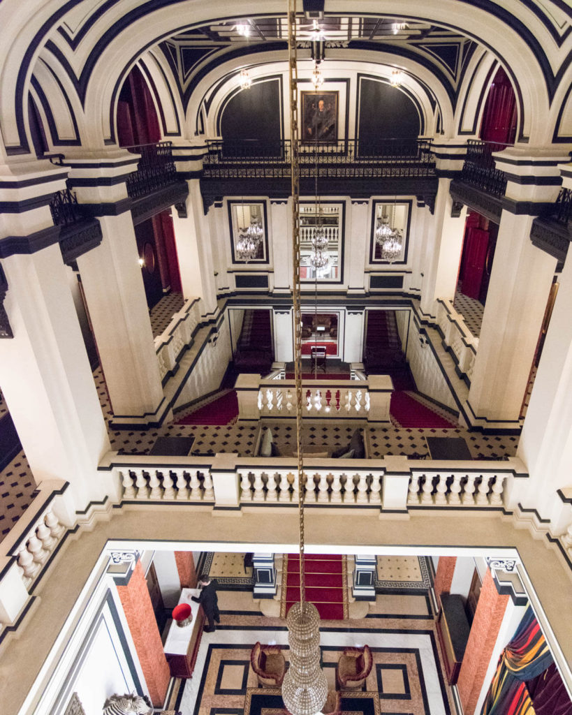 Overhead view of the Saint James Paris lobby