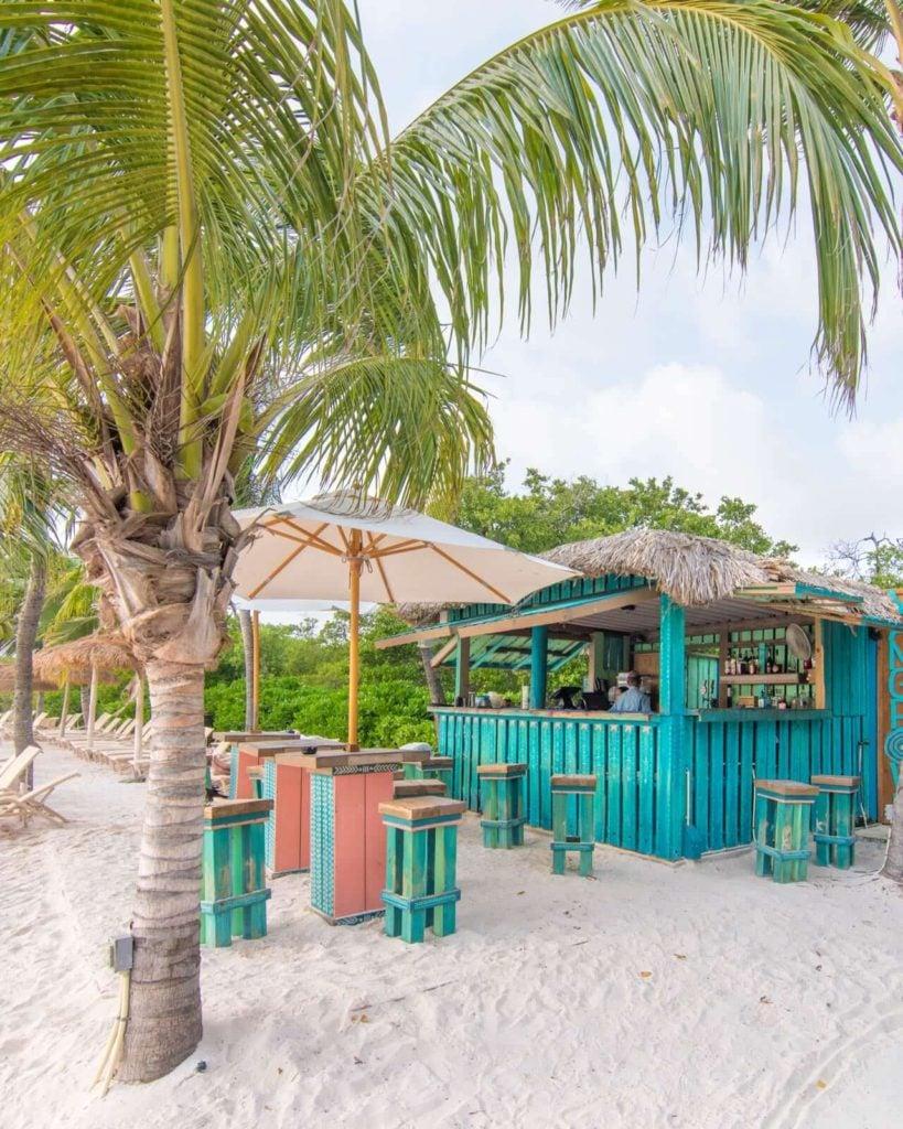 The bar at Flamingo Beach in Aruba