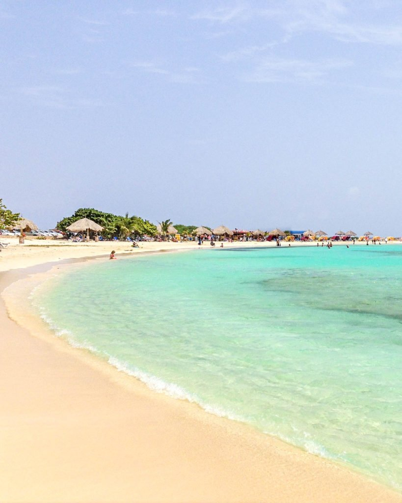 The shoreline at Baby Beach in Aruba