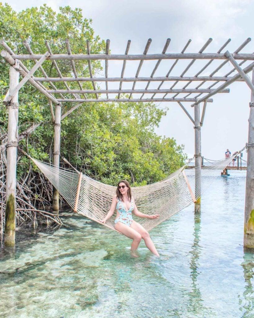 Girl sitting in hammock in Aruba
