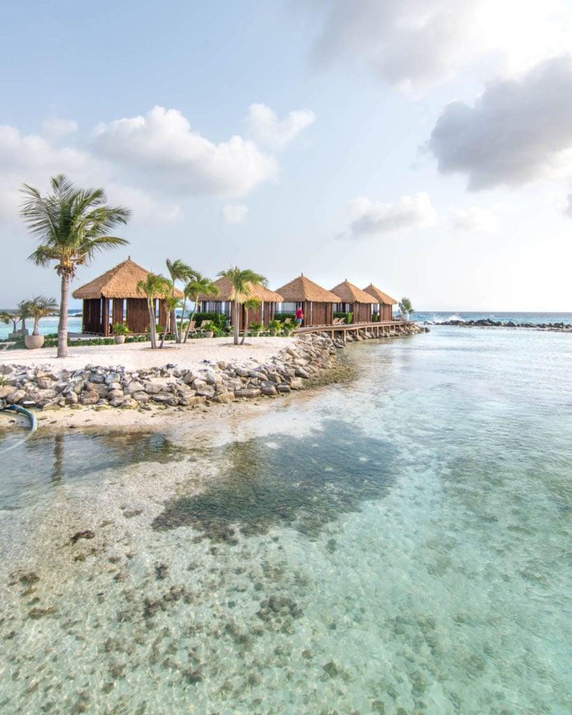 A view of the cabanas at Flamingo Beach