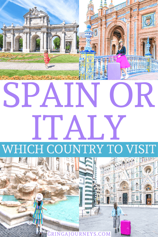 Which place is better to visit: Spain or Italy? We'll detail the best places and time of year to visit as well as the pros and cons of Spain vs Italy. #spainoritaly #spaintravel #italytravel #europetravel | Europe vacation | Italy vacation | Spain vacation | Where to travel Italy or Spain | Spain vs Italy travel | Spain vs Italy highlights| the best time to travel to Spain and Italy | best places to vacation in Spain and Italy