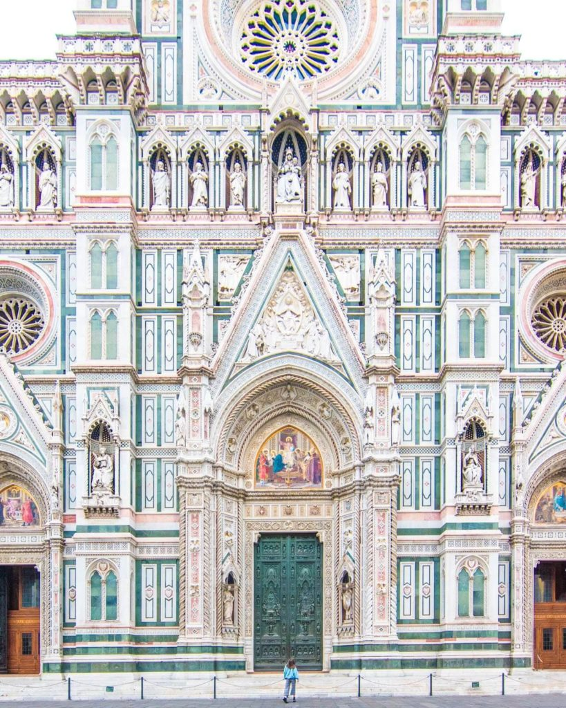 Façade of the Duomo in Florence, Italy.