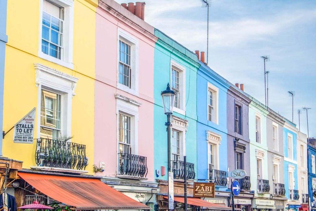 Colorful buildings along Portobello Road in Notting Hill