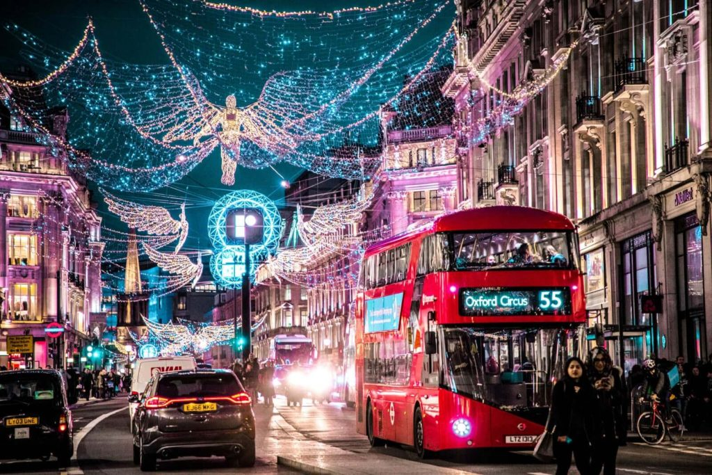 Regent street with the Christmas lights up