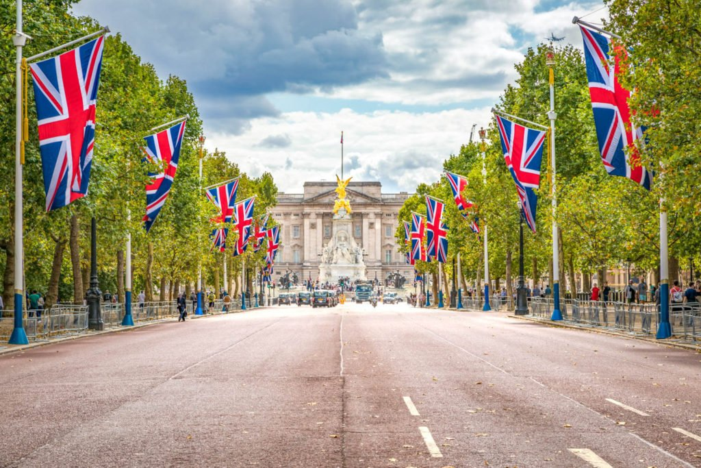A view of the Mall with Union Jack flags hanging along the road