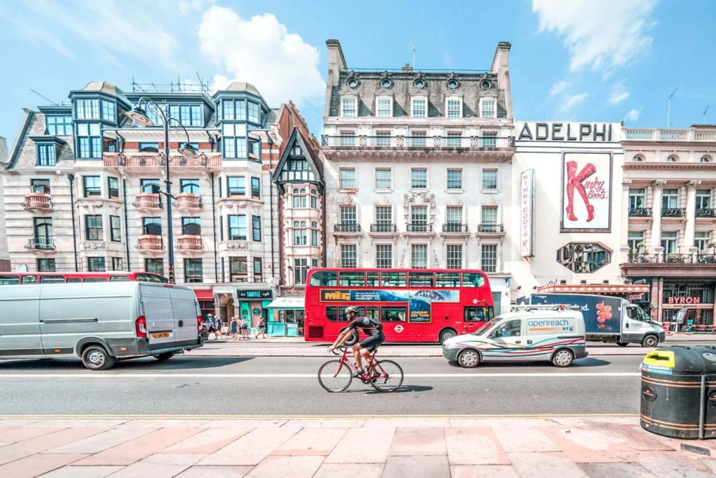 A view of the Strand and the Adelphi Theatre in London