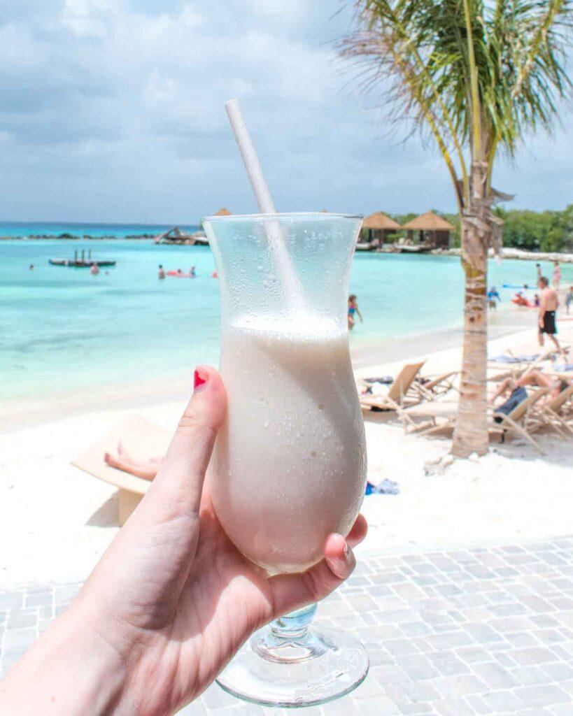 Piña colada from Mangrove Beach Bar on Flamingo Beach Aruba