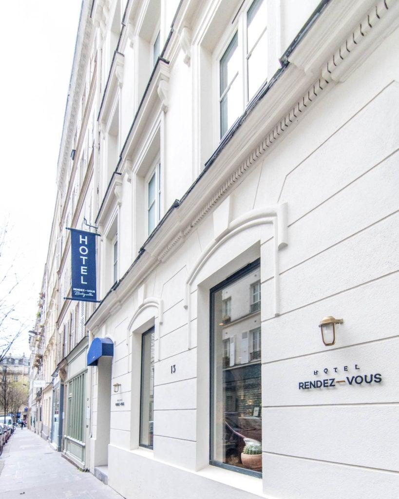 Outside façade of the Hotel Rendez-Vous Batignolles in Paris