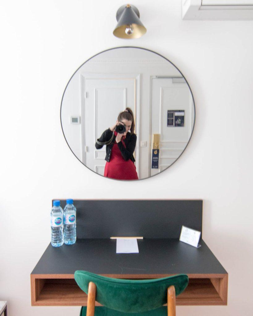 Desk inside room at Hotel Rendez-Vous Batignolles Paris