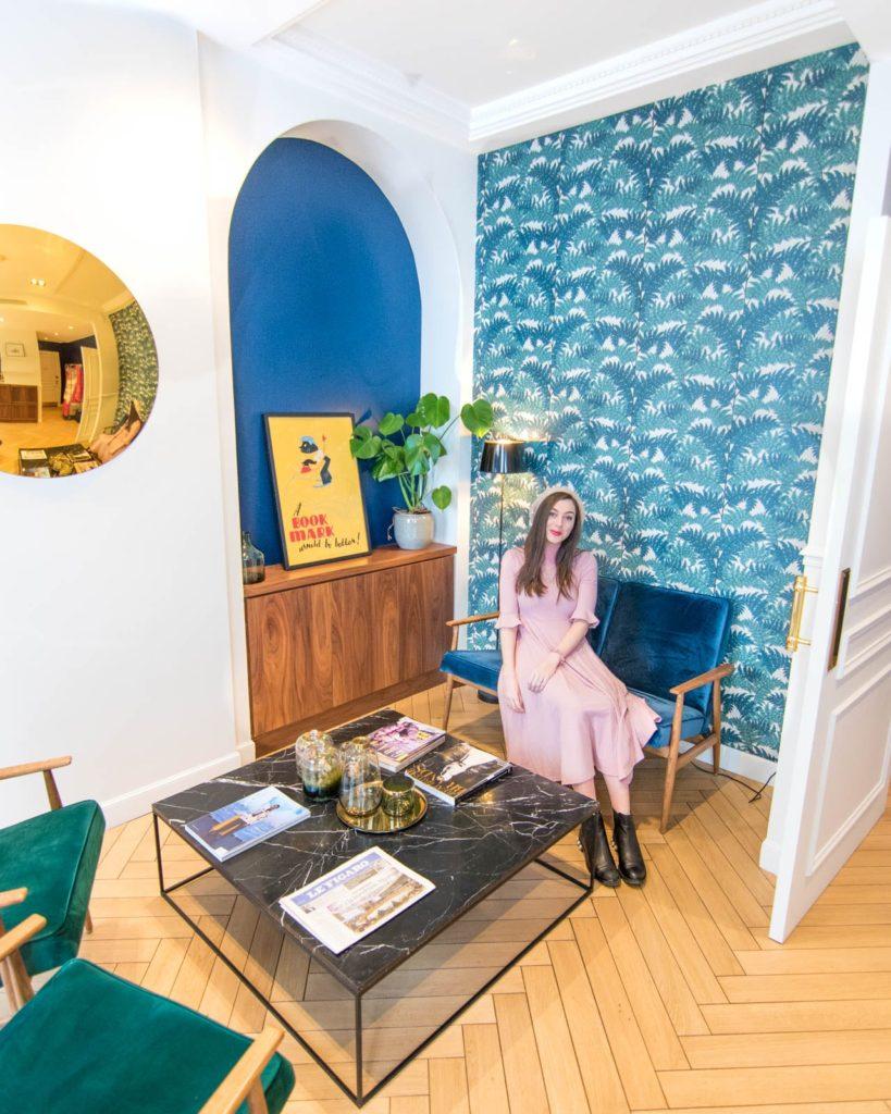 The colorful lobby of the Hotel Rendez-Vous Batignolles Paris