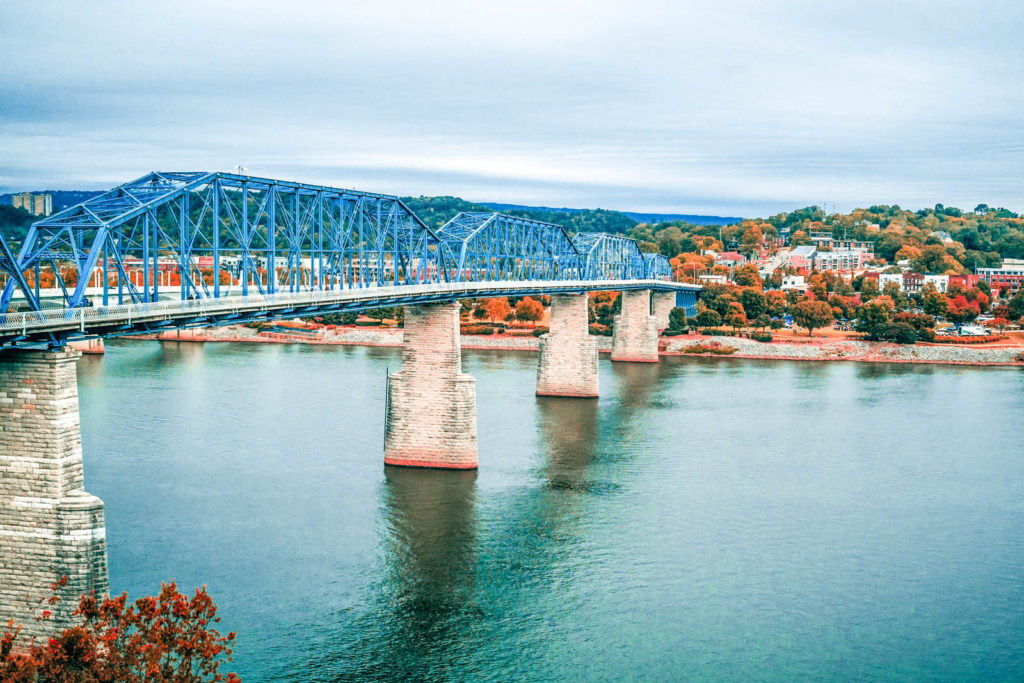 View of blue bridge in Chattanooga, TN