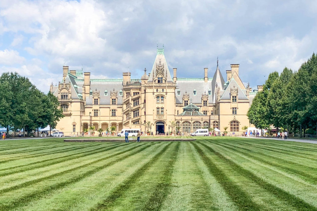 Front façade of the Biltmore Estate in Asheville, NC